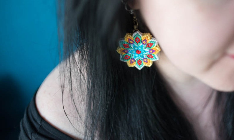 White yellow turquoise red flower earrings cotton knotted image 0