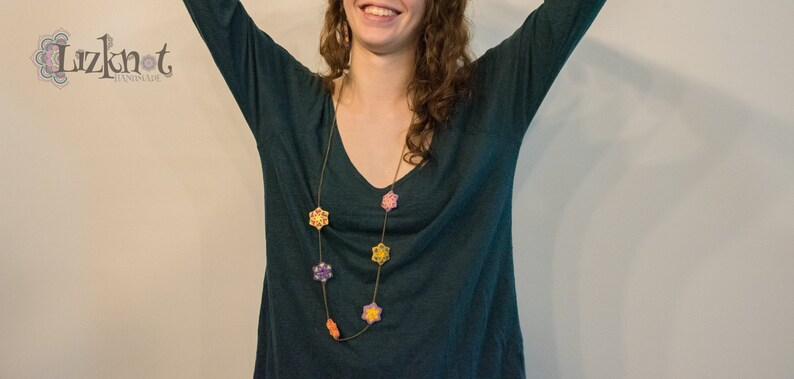 Long yellow purple floral necklace cotton knotted macrame image 0