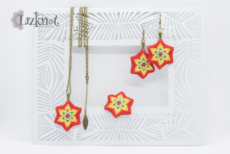Red yellow flower set cotton knotted macrame colorful image 0