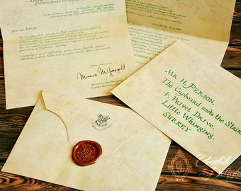 FIRST YEAR Hogwart Acceptance letter for Whichcraft and Wizardry school, printed and sealed with real wax! Standard address or CUSTOM!
