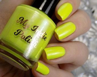 neon yellow nail polish  RADIOACTIVE vegan cruelty free LIMITED EDITION handmade  15ml