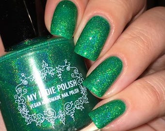 Green holographic nailpolish - Envious of what - Holographic - Handmade