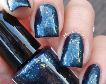 Teal and gold nail polish - One of the original flakies - 15 ml - EPIC