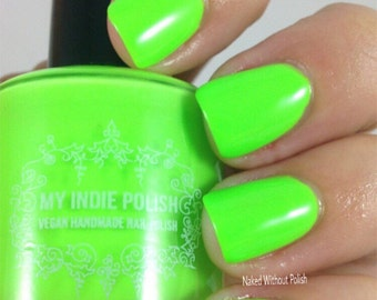 neon green nail polish  vegan cruelty free handmade  15ml