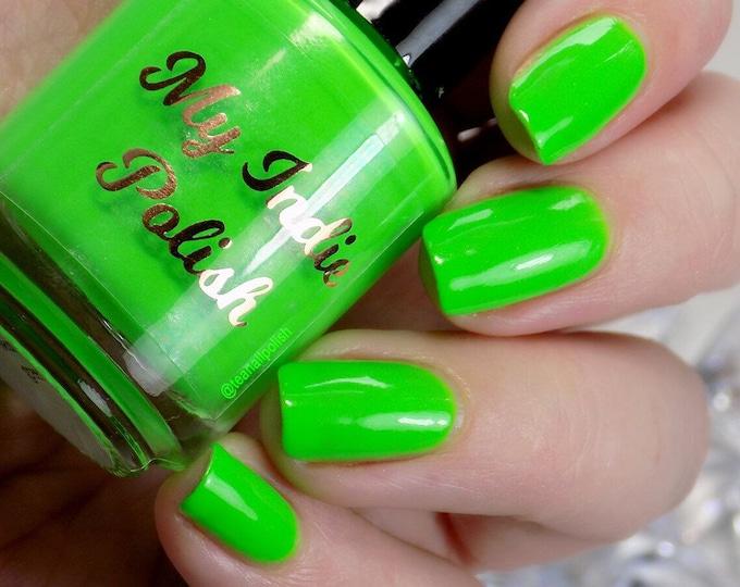 Featured listing image: neon green nail polish  vegan cruelty free handmade  15ml