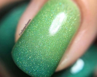 Holographic Thermal nail polish - inner glow -  Large bottle  -  Handmade - polish  - Vegan