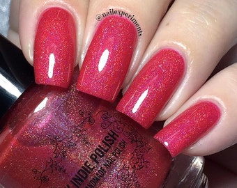 Red holographic nail polish - all fired up - vegan clearance retiring sale