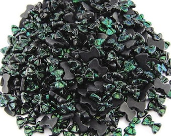 Nail Art bows black and green glitter bows  10 pc pink resin  FREE SHIPPING