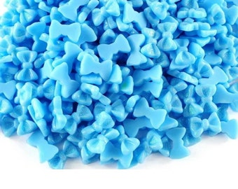 Bright blue bows  10 pc resin  FREE SHIPPING