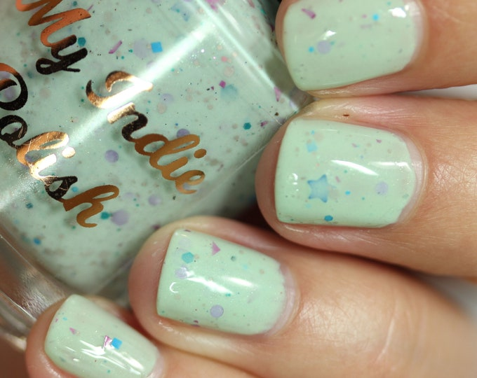 Featured listing image: Koopa troopa beach - mint nail polish with glitter