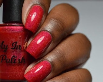 Red holographic nail polish - Valentine's Day - cruelty free cosmetics - 15 ml