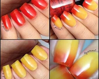 RESTOCKED On FireThermal nail polish yellow to red  15 ml