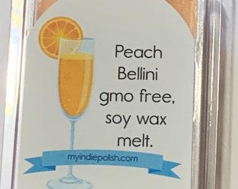 Wax Melt Peach Bellini - non gmo soy - 3 oz - perfect stocking stuffer or secret Santa gift