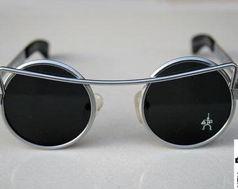 626d24d94 Hi Tek Alexander round sunglasses Steampunk sunglasses silver sunglasses  unisex rock sunglasses style unusual