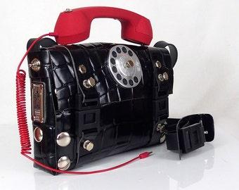 64c636ca5 Christmas gift 40 % OFF Hi Tek Unisex industrial Gothic neo Steampunk  telephone cross body bag leather shoulder handbag artist styling