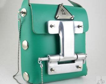 cea598542 20% OFF Hi Tek Alexandr Unisex industrial Gothic neo Steamapunk handmade  mini green leather futuristic messenger bag shoulder bag crossbody