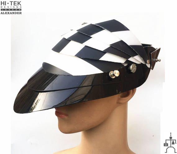 steampunk unusual party costume headpieces helmet  transformer mask hat Hi Tek Alexander handmade leather modern futuristic sci fi