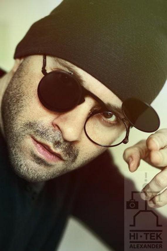 Hola Tek ronda marco de metal negro con resorte de gafas de | Etsy