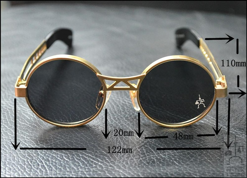 4aeb72880f0 Hi Tek Alexander round sunglasses Steampunk sunglasses silver