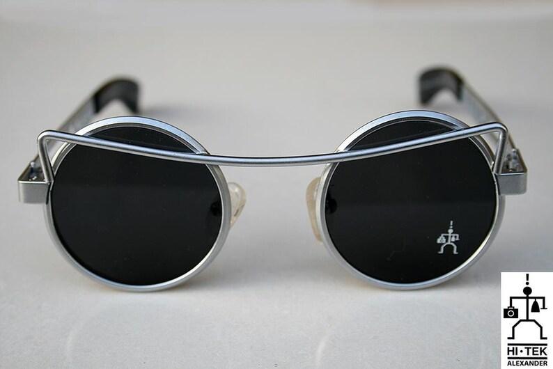 6bbd3b318a1 Hi Tek Alexander round sunglasses Steampunk sunglasses silver