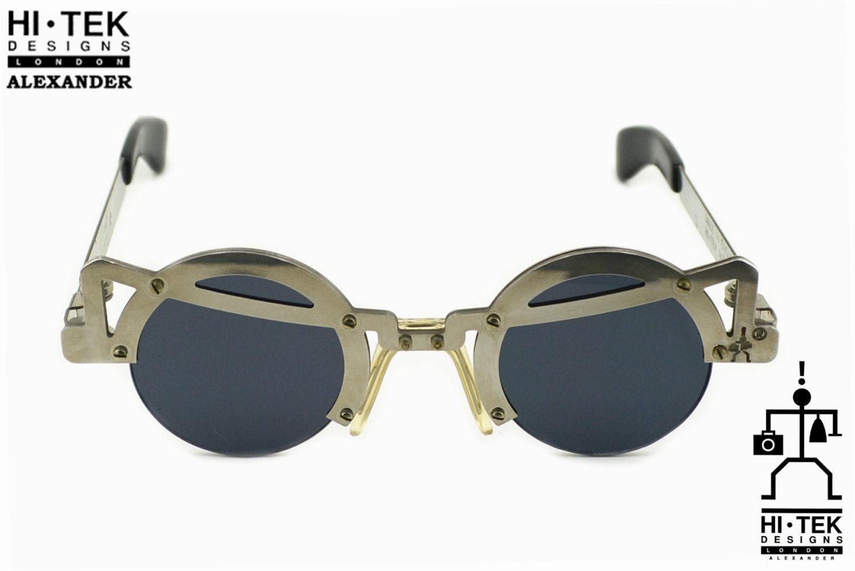 Gafas de sol redondas gafas Steampunk en plata metal Goth | Etsy