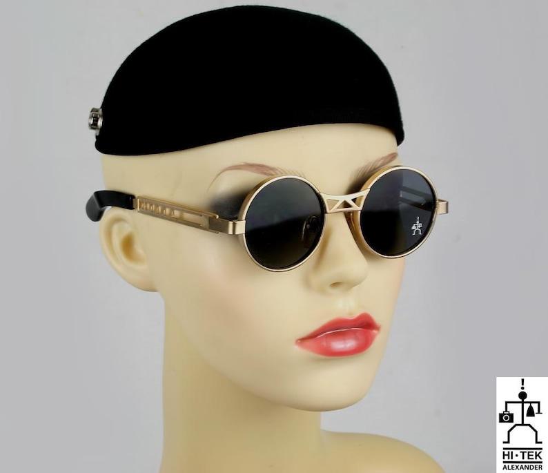 11c4663c5 Hi Tek Alexander round sunglasses Steampunk sunglasses silver | Etsy