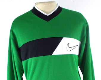 90s Nike Soccer Green Polyester Goalie Vintage Jersey Shirt Medium Large 65928befa