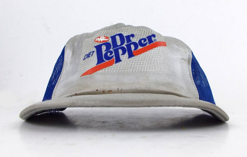 2a120d91e1 80s Diet Dr Pepper Cola Silver Vintage Mesh Trucker Snapback