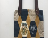 Shoulder bag, portable art with leather handle, handmade and hand-painted
