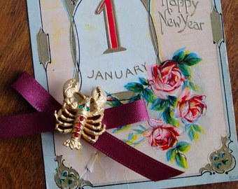 Vintage Lobster Brooch - Rhinestone and Gold Toned Vintage Pin - Antique New Years Postcard - Gift for Her - Gifts for