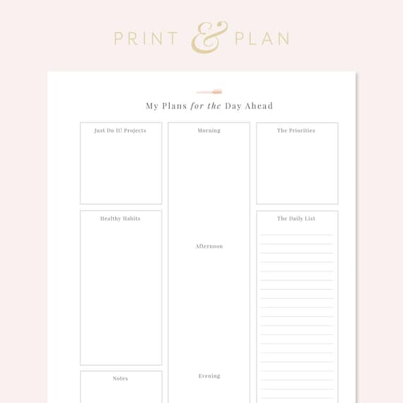 daily mae planner printable daily schedule printable planner etsy