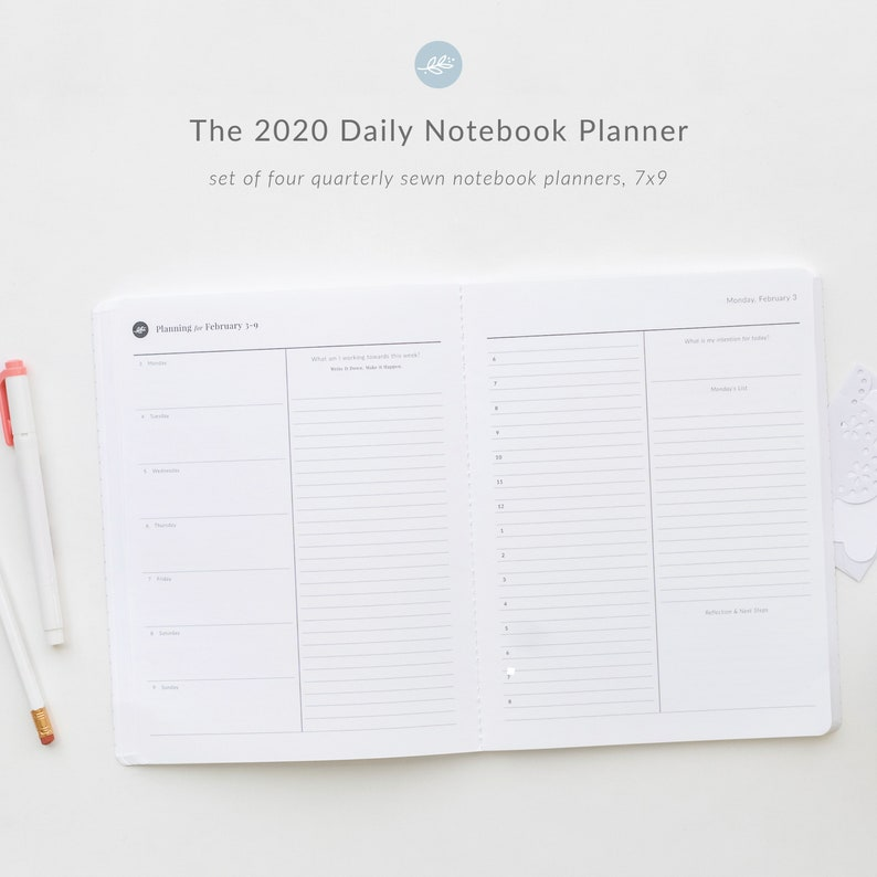 2020 Daily Planner  set of four Quarterly Sewn Notebook image 0