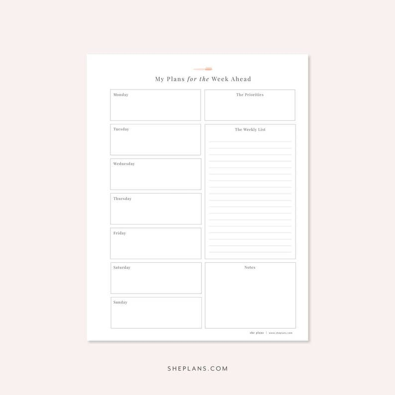 image about Weekly Agenda Printable called Weekly Planner Printable, Weekly Timetable Printable Planner Pinterest Planner 1 Webpage Program Undated Planner In the direction of Do Checklist Printable Checklist