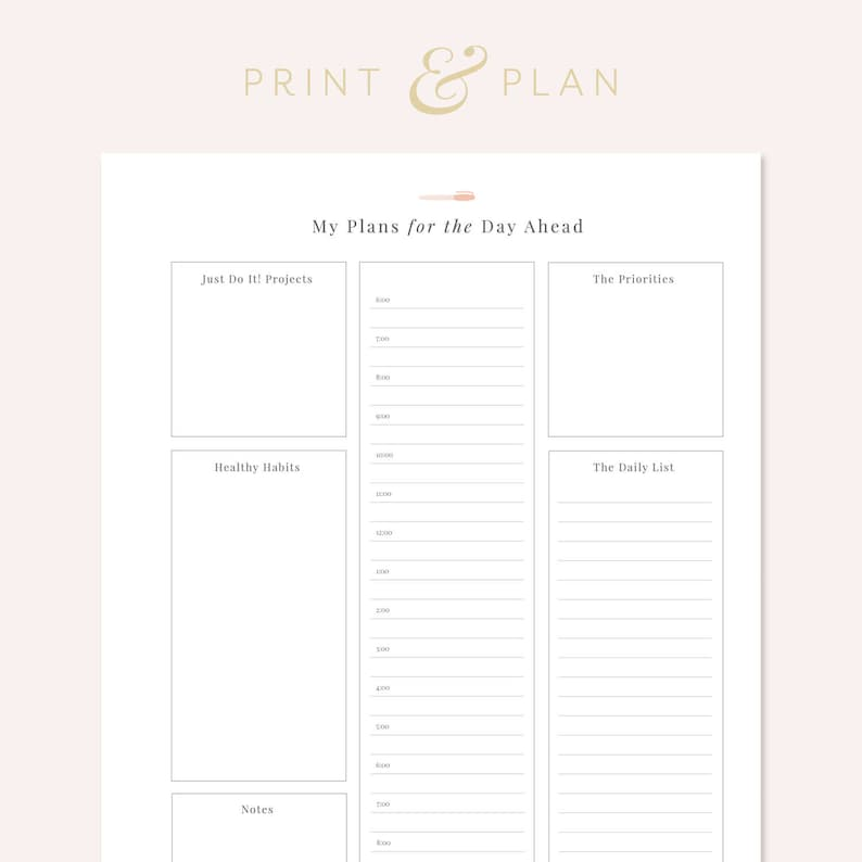 image regarding Printable Hourly Planner known as Day by day Hourly Planner Printable, Day-to-day Plan Printable Planner Everyday Program One particular Web page Planner Undated Planner In the direction of Do Record Printable Record