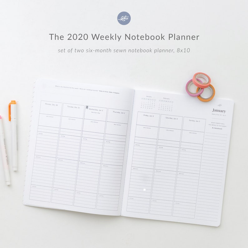 2020 Weekly Planner  a set of two Six-Month Sewn Notebook image 0