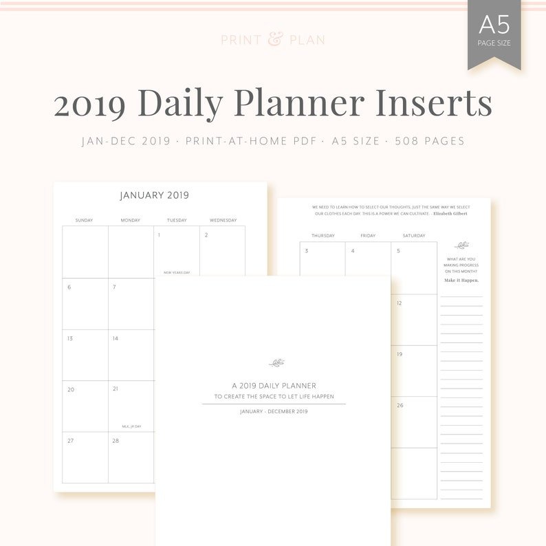 photograph regarding A5 Planner Printable called 2019 Each day Planner, printable A5 planner inserts