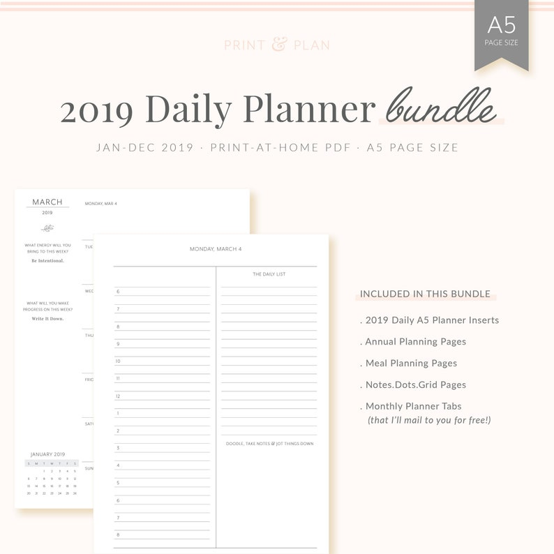 image regarding Free Printable Notes Pages referred to as 2019 Each day Planner Package deal, printable A5 planner inserts + yearly designing + supper coming up with + notes internet pages + every month A5 index tabs