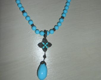 Beautiful Vintage Sterling Silver & Turquoise Beaded Pendant Necklace