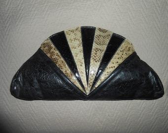 Vintage Black Leather & Snakeskin Clutch shoulder Handbag