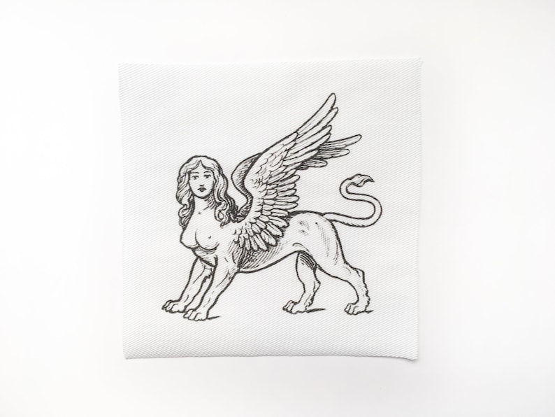 Black and White Sphynx Patch Sphinx Sew On Patch Vintage Greek Sphinx Illustration