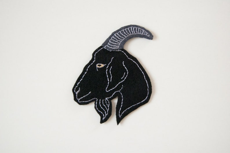 Black Goat Head Hand Embroidered Felt Patch - 4