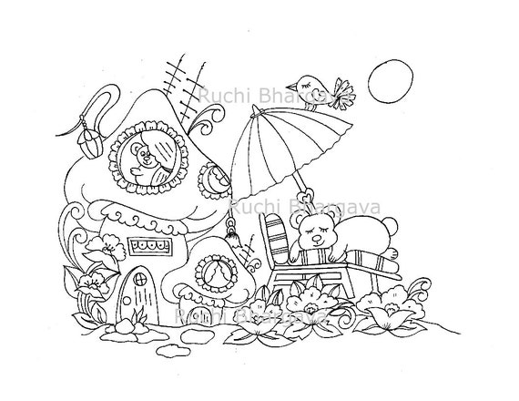 - Bear With Mushroom Coloring Page Etsy