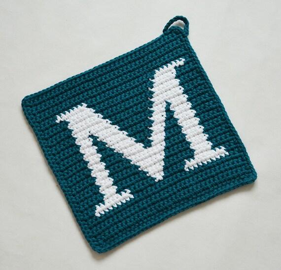 Letter M Potholder Crochet Pattern For Beginners Etsy