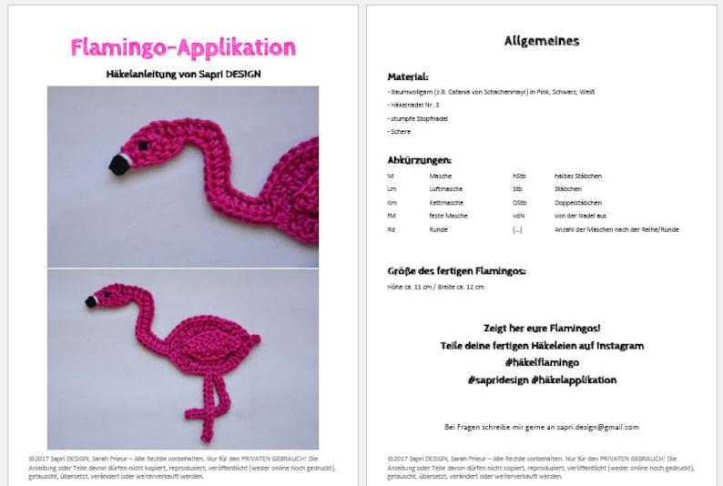 Flamingo Applikation  Aufn\u00e4her H\u00e4kelanleitung