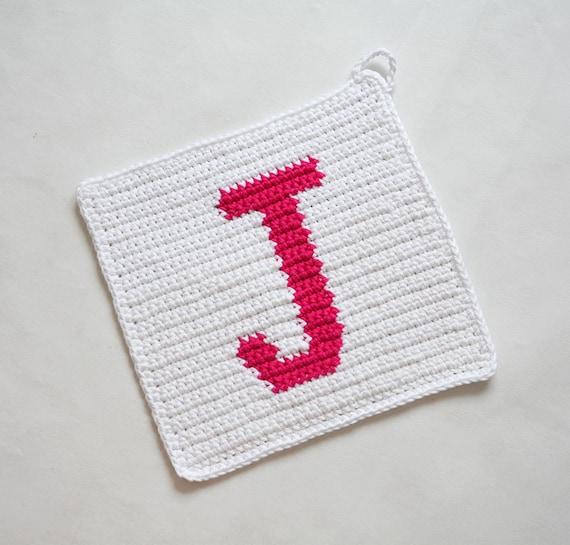 Letter J Potholder Crochet Pattern For Beginners Etsy