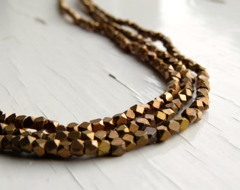 Solid brass faceted beads - cornerless cubes (50) 2/2.5 x 2/2.5mm, brass beads, spacer beads, faceted beads