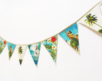 Bunting Hawaii Vintage. Banners. Fabric Bunting