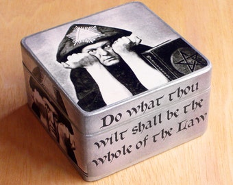 Box Aleister Crowley. Wooden box. Jewelry box. Thelema.