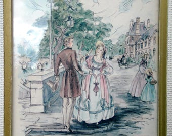 Vintage French Fashion Courting Art Colored Print Signed