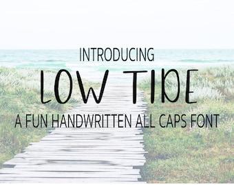 Low Tide All Caps Font, Handwritten Font